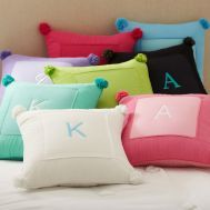 monogram pillow but without the pom poms