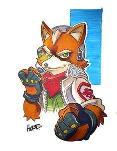 Copic Fox by on DeviantArt Super Smash Flash 2, Super Smash Bros, Star Fox, Marvel Cartoon Movies, Cartoon Art, Fox Character, Character Concept, Fox Mccloud, Fox Pictures