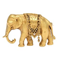 Antique Gold Tiffany Elephant Brooch | From a unique collection of vintage brooches at https://www.1stdibs.com/jewelry/brooches/brooches/