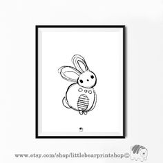 Cute Bunny Print in BW. Size A2 Digital Download 8.68€. Printable artwork is a beautiful, quick and cost effective way of updating your art. Available on Etsy. ❤️🐰 Bear Print, Cute Bunny, Wall Art Prints, Printable, Etsy Shop, Black And White, Digital, Handmade Gifts, Artwork