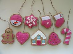 Set of 9 Pink Cookie Ornaments-Mini Tree door GingerSweetCrafts