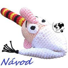 Nosáč v pyžamu - chrastítko ..... návod na háčkování (Křemílek) ______________ #křemílek#nosáč#vochomůrka#skřítek#elf#chrastítko#rattle#háčkované#crochet#návod#pattern#PDF#hračka#toy Tigger, Elf, Dinosaur Stuffed Animal, Disney Characters, Fictional Characters, Toys, Animals, Animales, Animaux
