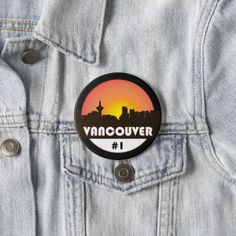 Large 3 inch button with Vancouver Canada logo - accessories accessory gift idea stylish unique custom