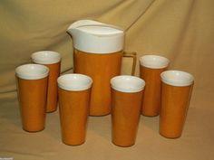 RAFFIAWARE SET TUMBLERS YELLOW WHITE BURLAP PITCHER 6 CUP GLASSES SERVING PATIO #Raffiaware