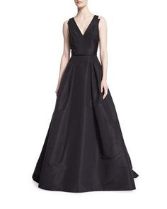 Sleeveless V-Neck Ball Gown, Black by Carolina Herrera at Neiman Marcus.