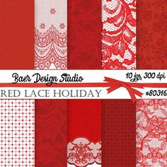 50% off sale-Lace Digital Paper, Red Lace Digital Paper, Digital Scrapbook Paper, Digital Paper Commercial Use, Lace Planner Stickers #80316