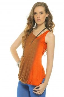 Draped Ombre` Top - Burnt Orange  You'll #love the #stylish fluidity of this drape #top. The assymetric V neck is just a small #feature of this striking number which boasts of a premium #bamboo #fabric base. To #top it all, this has been specially dip-dyed in two #colors for exclusivity. This is the most stylish way to go natural this #summer.#shopnineteen  Lace Top #2dayslook #LaceTop #kelly751 #anoukblokker  www.2dayslook.com