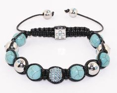 """Blue Cyan CZ Disco Ball Shamballa Style Macrame Bracelet with Turquoise and Copper Beads . Length 6-10"""" #13 Silverinvasion Jewelry. $17.95. Ships in jewelry pouch. 2 pcs of 8mm copper beads with cyan rhinestone. 6 pcs of 10 mm turquoise howlite beads - 4 pcs copper beads with cyan stones. 1 pc of 10 mm cyan Cz disco ball. Its handmade ,the weight is 30 g and the length 6-10"""""""