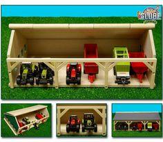 Tractorloods voor 6 tractoren. Houten loods voor 6 tractoren. Deze loods is speciaal ontworpen voor gebruik in combinatie met 1:87 speelgoed. De afmetingen zijn (LxBxH): 16,7 x 20 x 11,9 cm.