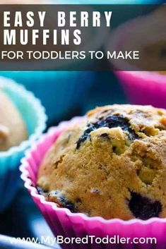 Easy Berry Muffins for toddlers to bake - an easy kids cooking recipe Kids Cooking Recipes, Cooking With Kids, Fun Cooking, Muffin Recipes, Snack Recipes, Pudding Recipes, Soup Recipes, Cookie Recipes, Healthy Recipes