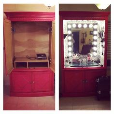 Re-purposed armoire into a hair and make up vanity - Decor Diy Home Diy Furniture Projects, Repurposed Furniture, Home Decor Furniture, Home Decor Bedroom, Furniture Makeover, Diy Home Decor, Diy Vanity Table, Vanity Decor, Diy Makeup Vanity