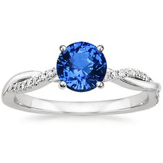 Sapphire Petite Twisted Vine Diamond Ring in 18K White Gold, 6mm Round Blue Sapphire