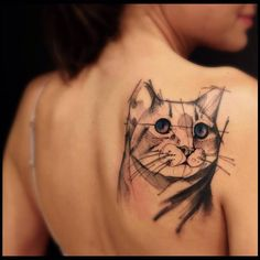Sketch work style cat tattoo. Tattoo Artist: Victor Montaghini