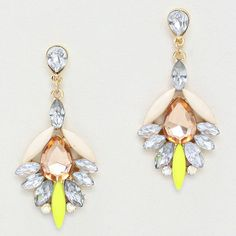 Sweet with a touch of sour. Class with a touch of neon. Girl, you have gone wild.  Colored rhinestone earrings have shades of champagne, clear, ivory, and citron.  Earrings have standard posts and are 2 1/4 inches long. #SweetSangria #jewelry #trending #eyecandy #unique #boho #accessories #fashion #coolmom #womensjewelry