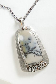Dendritic Jasper Pendant Sterling Silver One of A Kind