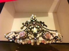 Tiara, Neckalace, Earrings set, pink ceramic flowers, diamante,pearls. Gothic. #PetalsInternational #Tiara