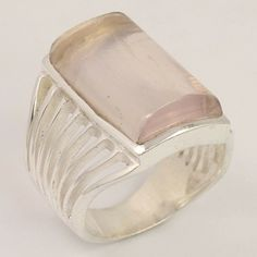 Men & Women Ring Size US 7.75 Natural CRYSTAL QUARTZ Gems 925 Sterling Silver #Unbranded Fine Jewelry, Women Jewelry, Silver Jewellery Indian, Quartz Crystal, Crystal Ring, Natural Crystals, Sterling Silver Jewelry, Gemstones, Awesome