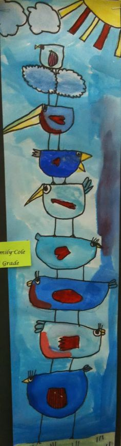 Art Room Blog: 1st Grade Stacking Birds...After watching a power point on John Audubon, kids had to make stacking birds...the birds had to get smaller as they go up. Watercolor.