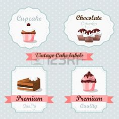 Cute vintage retro food labels with cakes and cupcakes Stock Vector