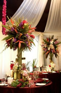 Birds of paradise floral centerpiece --tropical floral arrangements (may be from a wedding) but at Sundy House. Tropical Centerpieces, Tropical Floral Arrangements, Bamboo Centerpieces, Wedding Centerpieces, Wedding Table, Flower Arrangements, Wedding Decorations, Centrepieces, Tropical Flowers