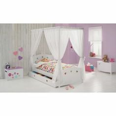 Curtains Buy Molly Single Four Poster Bed Frame - White at Argos.co.uk - Your Online Shop for Children's beds, Children's beds.