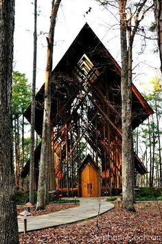 Anthony Chapel in Hot Springs, Arkansas - a glass chapel in the woods at Garvan Woodland Gardens. This place was so special we created a silk and pearl necklace after visiting: https://naughtonbraun.com/thorncrown-biawa-pearl-silk-necklace