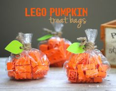 Halloween Non-Candy Treat Idea - Lego Pumpkin Treat Bags
