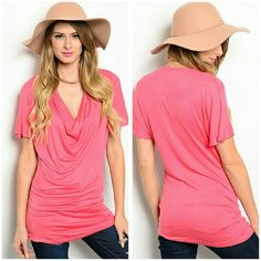 Resort Top Size S Beautiful draped neck top, in a gorgeous coral shade Material is rayon, spandex and viscose  size S Price firm unless bundled Boutique  Tops Blouses