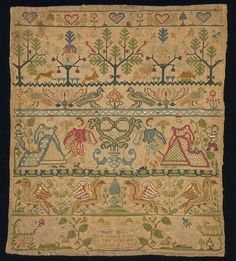 Sampler 1729 Linen, embroidered with silk in cross stitch Height 29.9 cm Width 26 cm T.291-1916