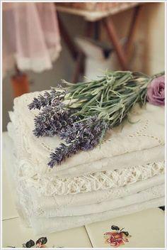 Vintage linens and lavender