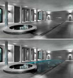 Want a swimming pool but don't have the space? There are a few ingenious solutions – solid floor door slides open to reveal pool with push of a button. This sleek spa is from Hydrofloor.