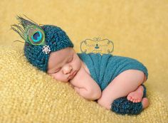 Crochet Newborn Baby Peacock Hat and Legwarmer Set, Custom Made To Order, Handmade Girl Photo Photography Prop Shower Gift Feather on Etsy, $28.00