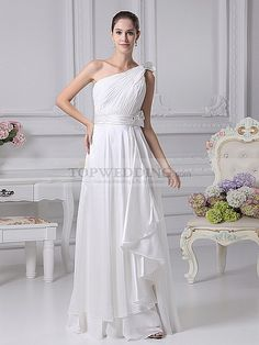 Discount Bridal Gowns Online - Pleated One Shoulder Chiffon Wedding Dress