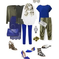 Ensemble cobalt and olive by youlookfab on polyvore featuring steve j