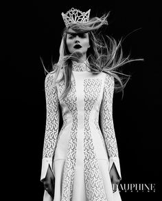 Alexander McQueen short wedding dress, Danica Erard Millinery headpiece/crown, shot by Moo King and featured in the latest issue of Dauphine Magazine! www.dauphinemagazine.com - Couture Fashion / Luxury Wedding / Lifestyle Magazine -- Castlefield Couture Graphics: Luxe Wedding and Event Invitations, Branding, Surface Patterns www.castlefield.co