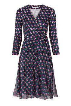 Irina Silk and Chiffon Combo Wrap Dress
