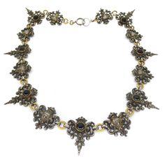 Antique Victorian Renaissance Revival Figural Face Panel Glass Necklace | Clarice Jewellery