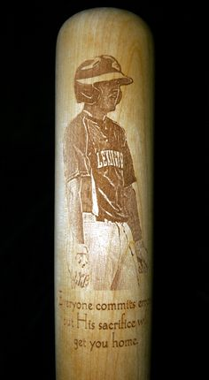 Custom Maple baseball bat with ball player photo-engraving
