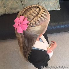 "964 Likes, 10 Comments - Little Girl Hairstyles (@braidsforlittlegirls) on Instagram: ""I love the simplicity of this! Two cornrows coming forward and hair down, credit @cutehairbraid …"""