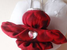 Deep Red and White Lovely Yo Yo Angel Ornament by SursyShop, $7.00