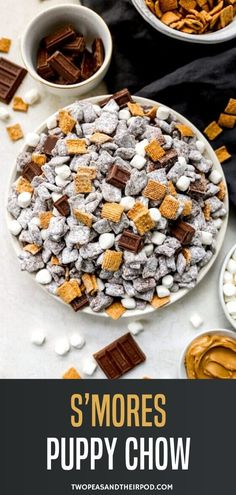 A campfire twist on the classic puppy chow treat! S'mores Puppy Chow has marshmallow, graham and chocolate flavors mixed into the traditional chocolate peanut butter cereal treat. Beware, it's addicting! Cereal Treats, Snack Recipes, Snacks, How Sweet Eats, Food, Sweet Snacks, Homemade Desserts, Puppy Chow Chex Mix Recipe, Puppy Chow Recipes