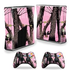Protective Vinyl Skin Decal Cover for Microsoft Xbox 360 S Slim + 2 Controller Skins Sticker Skins Pink Tree Camo by MightySkins, http://www.amazon.com/dp/B00CXPHB8O/ref=cm_sw_r_pi_dpp_F3wTsb0MVX4ZD