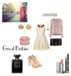 """""""Meet Me In the Streets of London"""" by arcticsol ❤ liked on Polyvore featuring Orla Kiely, Miu Miu, Tiffany & Co., Lancôme, GUESS by Marciano, Yves Saint Laurent, Chanel and H&M"""