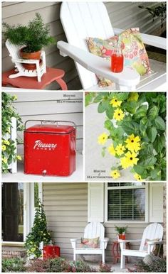 Fun and colorful summer porch decor with a vintage twist. Adirondack chairs, vintage coolers and a gorgeous black-eyed Susan vine are the highlights. by colette