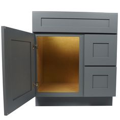 30 inch bathroom vanity single sink cabinet in shaker gray with soft close drawers u0026 door