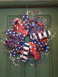 fourth of july wreath Fourth Of July Decor, 4th Of July Decorations, 4th Of July Party, 4th Of July Wreath, July 4th, Patriotic Wreath, Flag Wreath, Patriotic Crafts, Patriotic Party