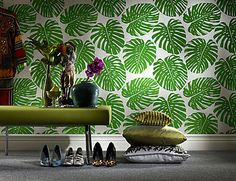 This is my type of wallpaper. Velvet Wallpaper, Of Wallpaper, Designer Wallpaper, Tropical Interior, Tropical Design, Bedroom Sofa, Living Room Bedroom, How To Design Tshirts, Textiles