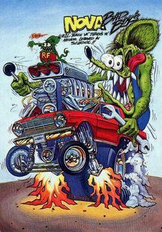 Nova Cartoon Car Drawing, Car Drawings, Cartoon Art, Rat Fink, Ed Roth Art, Monster Car, Garage Art, Car Posters, Big Daddy