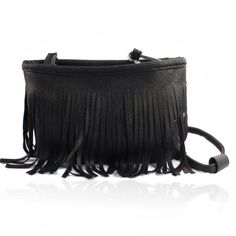 Tassel Baguette Handbag Tassel shoulder messenger clutch baguette handbag. Black pu leather has zipper pocket inside with long strap so you can wear cross body. New! Bags
