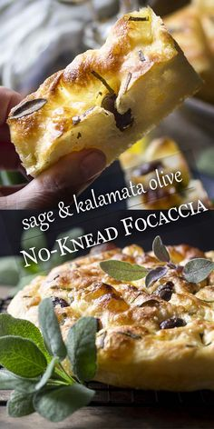 No-knead bread is easy to make! This sage and olive focaccia is baked right in a cast iron skillet for a soft and chewy interior and crispy crust. Foccacia Recipe, Focaccia Bread Recipe, Sage Bread Recipe, Artisan Bread Recipes, Banana Bread Recipes, Savoury Baking, Bread Baking, Bacon, Gourmet